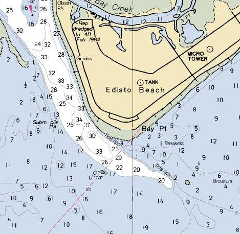 Edisto Beach Map Texas Shark Fishing